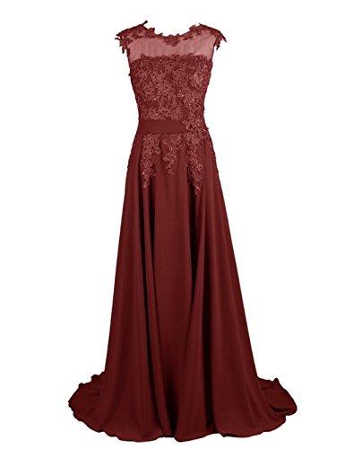 Sleeve Burgundy Lace Chiffon Annie Prom s Women Evening Cap Long Bridal Dresses s Gowns 0x0AqwXO