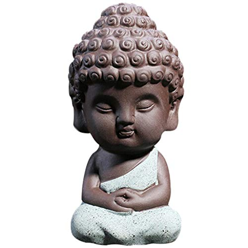 Buddha Ceramic Statue Head (JETTINGBUY Cute Small Buddha Statue Monk Figurine tathagata India Yoga Mandala Sculptures)