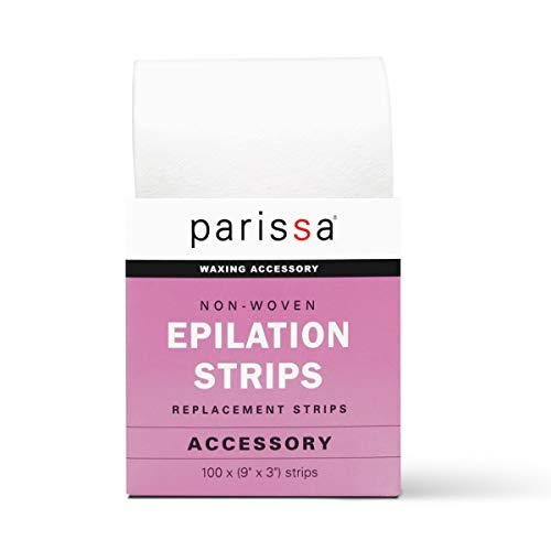 Parissa Epilation (Waxing) Non-Woven Cloth Strips, Replacement Strips for use with Hair Removal Liquid Wax, 100 x Large Size Strips 9'' x ()