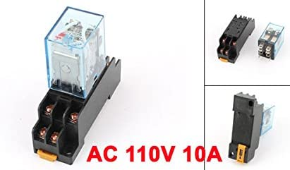 uxcell AC 110V Coil Power Relay 10A DPDT LY2NJ with PTF08A Socket Base