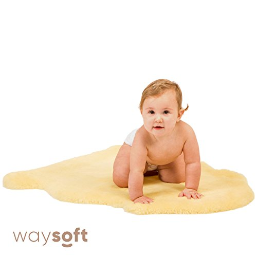 Baby Sheepskin Rug by WaySoft in a Gift Bag, New Zealand Soft Dense Shorn Wool, Hypoallergenic and Oeko-Tex Standard 100 Certified Nursery Rug, 2ft x 3ft by WaySoft
