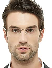 Titanium Men Rectangular Rimeless Eyewear Frames...
