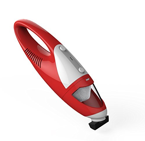 Handheld Vacuum Cleaner, Rechargeable cordless vacuum cleaner,rubber nozzle bagless, cyclonic action,car hoover vac dustbuster ( Red)
