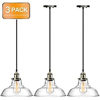 Pro 1-Light Industrial Edison Vintage Hanging Lamp, Height Adjustable Glass Pendant Light, Antique Brass Brushed E26 Socket, Perfect for Kitchen, Dining Room