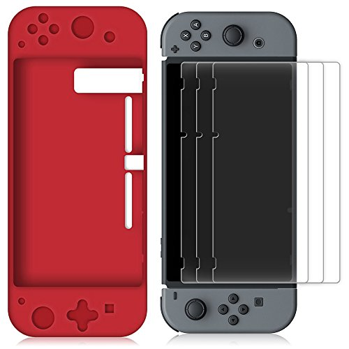 Silicone Case for Nintendo Switch with 3 Screen Protector, FineGood Protective Soft Anti-slip Back Case Cover with Anti-Scratch PET Films Skins - (Silicon Skin Screen Protector)