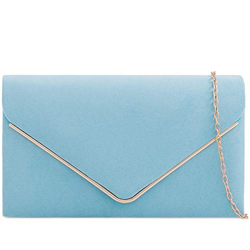 Bag Ladies London Shoulder Sized Blue Clutch Craze Purse Suede Faux With Classic Evening Women's Envelope Sky Strap Chain Medium Hxqd6zP