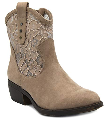Rampage Women's Thriller Low Shaft Mid Calf Western Ladies Boot with Side Zip Taupe with Lace 8