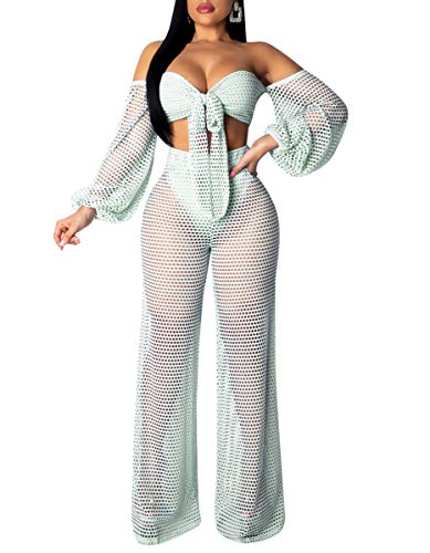 (Women Sexy Two Piece Outfits - Strapless Front Tie Top + See Through Wide Leg Pants Summer Jumpsuits Cyan XXL)