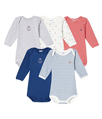 Petit Bateau Baby Boys  5 Pack Printed and Solid Bodysuits 294c3304e0d