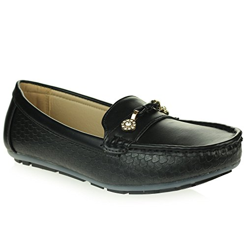 Womens Ladies Lightweight Moccasins Padded Comfort Everyday Office Work Casual Slip-On Flat Shoes Size Black GlwqSHq
