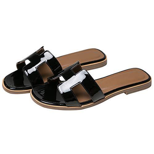 June in Love Women's Flat Casual Fashion Summer Sandals Slippers outsdoor Open Toe H Shape Slippers Patent Black 6 US