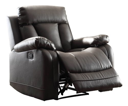 Home Elegance 8500BLK-1 Ackerman Recliner Chair, Black Bonded Leather