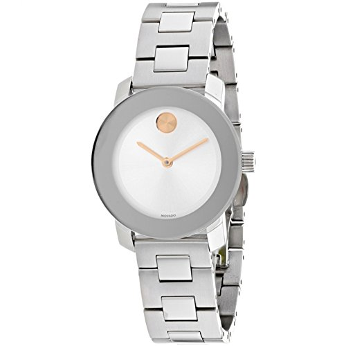 Watch Crystal Gold Links Color (Movado Women's Swiss Quartz Stainless Steel Casual Watch, Color Silver-Toned (Model: 3600433))