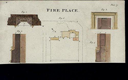 Fireplace Floor Plan Interior Design Dimensions 1816 antique hand color print