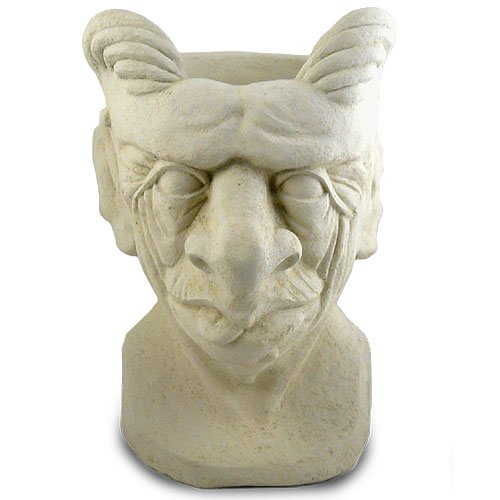 Garden Gargoyle Head Outdoor Planter, 14-Inch Fine Concrete by Modern Artisans