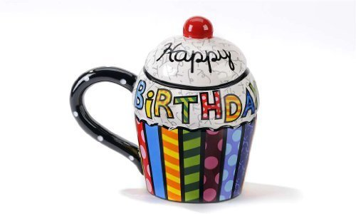 Giftcraft Romero Britto Ceramic Cupcake Mug Covered