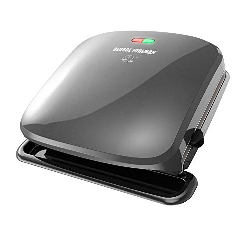 George Foreman 4-Serving Removable Plate Grill and Panini Press, Silver For Sale