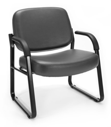 OFM Big and Tall Reception Chair with Arms – Anti-Microbial Anti-Bacterial Vinyl Mid-Back Guest Chair, Charcoal 407-VAM