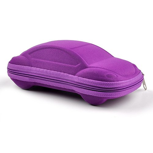 Holrea Fashion Portable Car Shaped Styling Glasses Box Sunglasses Case with Clasp Kids Eyeglasses Hard Case Holder Zipper Carrying Holder Eyes Glasses Box Bag for Kids Adults Purple for $<!--$3.39-->