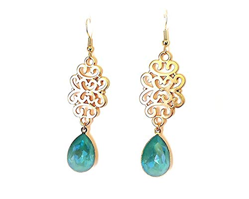 Blue Laguna Delite Swarovski Crystal Statement Earrings in Fancy Pear Stones, Gold Hypoallergenic or Nickel Free Ear Wires for Sensitive Ears, Extra Long Length ()