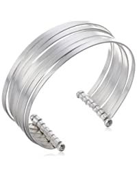 Sterling Silver Multi-Stacked Bangle Cuff Bracelet