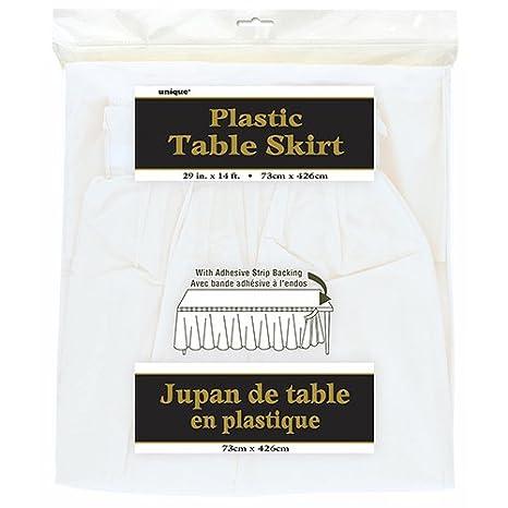 50048 Color amarillo 420 cm Unique Party- Falda de mesa de pl/ástico
