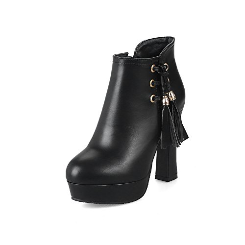Black SXC02616 Platform AdeeSu nbsp;Lining Womens nbsp; Boots Heels Velvet Chunky Leather q7vRfOw