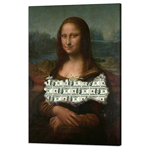 - Yatsen Bridge Modern Inspiratinal Posters Money Millionaire Motivational Canvas Wall Art Mona Lisa Dollars Posters with Wooden Frame Ready to Hang for Office Home Decor - 12''Wx18''H