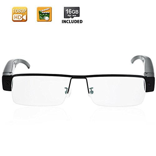 WISEUP 1080P HD Spy Eye Glasses Camera - Covert Video Camera Glasses with 16GB Memory Card Built-in by WISEUP