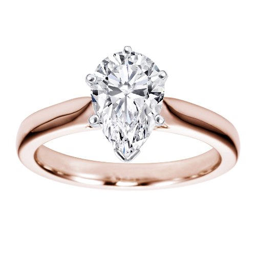 14K Rose Gold Solitaire Diamond Engagement Ring Pear Cut (F Color SI1-SI2 Clarity 0.51 ctw) - Size 6.5 (Solitaire Diamond Si1 Pear)