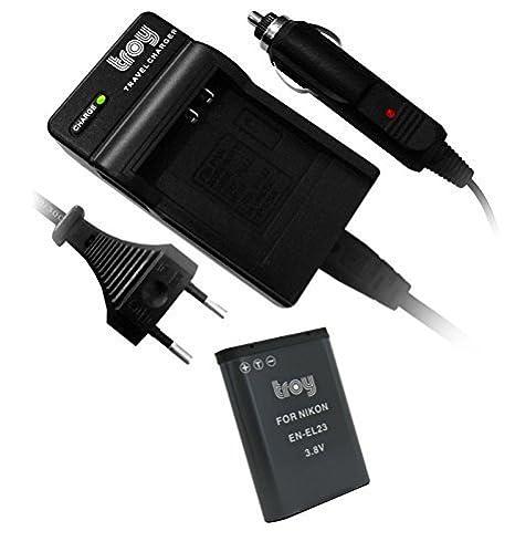 Troy Batería + Cargador para Nikon EN-EL23 Adecuado para: Nikon Coolpix B700 P600 P610 S810 C P900