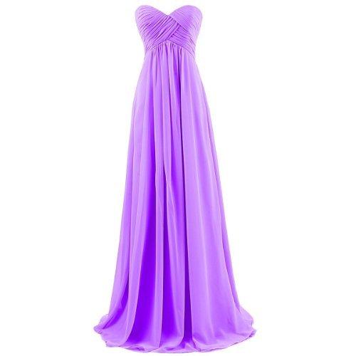Ouman Sweetheart Bridesmaid Chiffon Prom Dress Long Evening Gown Purple XS