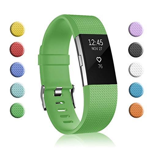 Fundro Replacement Bands Compatible with Fitbit Charge 2, Classic & Special Edition Adjustable Sport Wristbands (1-Pack Green, Small (5.5-6.7))