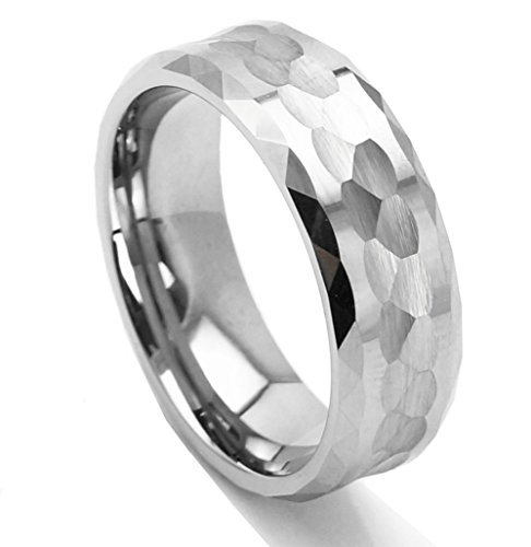 King Will HAMMER Men 8mm Tungsten Carbide Ring Multi-faceted Hammered Polished Finish Wedding Band (10.5) (8mm Band Ring Hammered)
