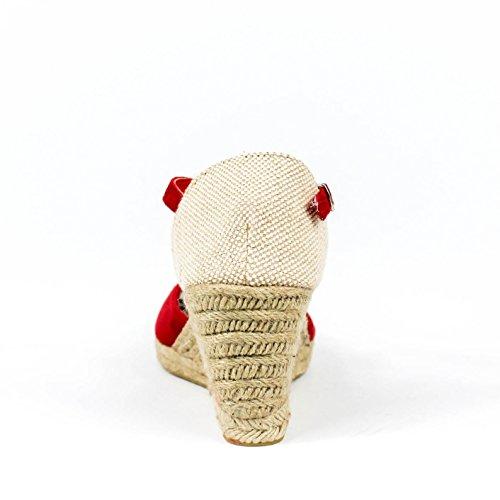 cm talón forrada punta valenciana el en cuña con 5 Cuña cuña hebilla pulsera Detalle yute color en natural textura 7 Rojo mediante Altura tobillo Cierre Sandalia en de de estilo y wPCqt0X