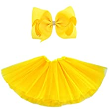 BGFKS 5 Layered Tulle Tutu Skirt for Girls with Hairbow and Hairties, Ballet Dressing Up Kid Tutu Skirt (Yellow, 2-8 Years Old)