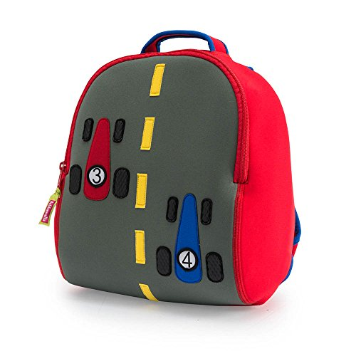 Dabbawalla Bags Fast Track Race Cars Kids' Preschool & Toddler Backpack Grey/Red/Blue