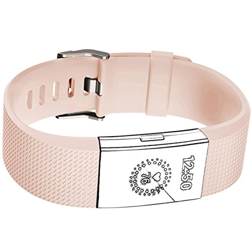Humenn Fitbit Charge 2 HR Accessory Band for Women, Blush Pink, Small