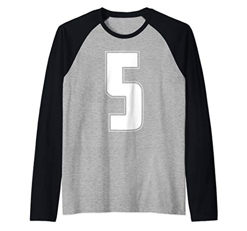 Halloween Group Costume #5 Sports Jersey Number 5 5th Bday Raglan Baseball Tee -