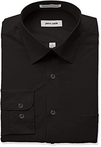 Pierre+Cardin+Men%27s+Classic+Fit+Solid+Broadcloth+Semi+Spread+Collar+Shirt%2C+Black%2C+16%22-16.5%22+Neck+34%22-35%22+Sleeve