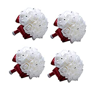 MOJUN Wedding Bouquets Crystal PE Roses Bridal Bridesmaid Wedding Hand Holding Bouquet Artificial Fake Flowers Toss Bouquet 90