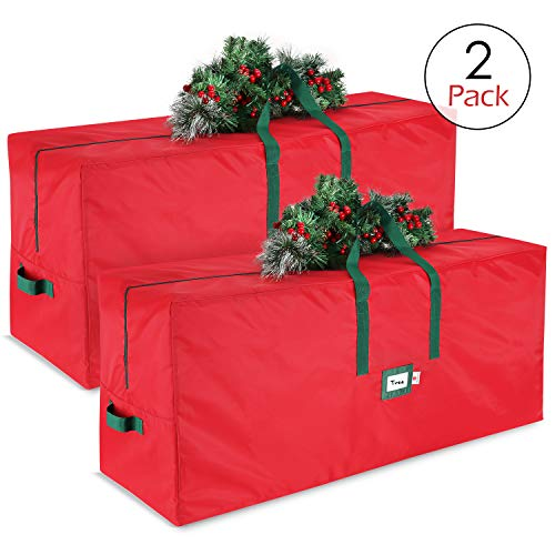 StorageMaid Christmas Tree Storage Bag - Waterproof Artificial Tree Storage Bag Fits Up to 7.5 Foot Disassembled Trees - 2 Pack Xmas Tree Box with Reinforced Carry Handles & Heavy Duty Zipper