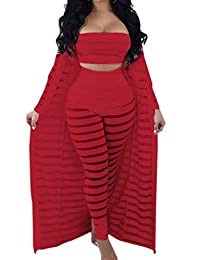 XXXITICAT Women's Sexy Lace See Through Pants Tube Top Coat Sets Suits