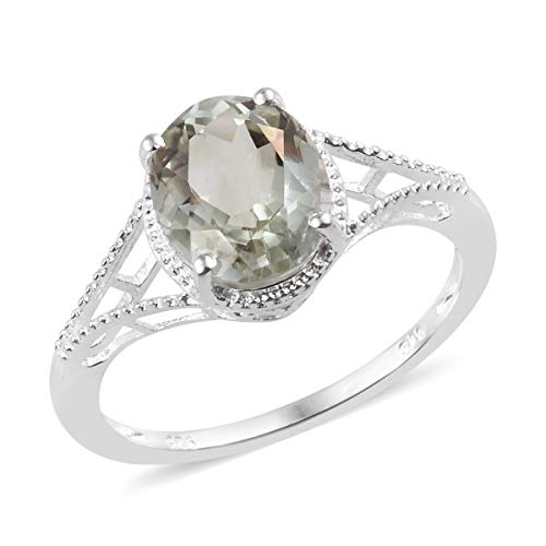 925 Sterling Silver Oval Green Amethyst Solitaire Ring for Women Jewelry Gift Size 6 Cttw 2.6