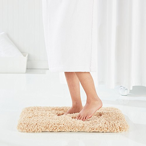 Genteele Non-Slip Memory Foam Shaggy Bathroom Mat, Water Absorbent, Super Plush, Washable Bathroom Rug, 21