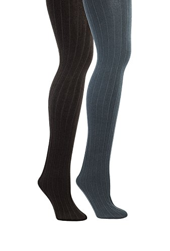 Womens Fleece Lined Ribbed Tights - Cute Winter Legwear for Women (M/L, Grey / (Warm Ribbed Tights)