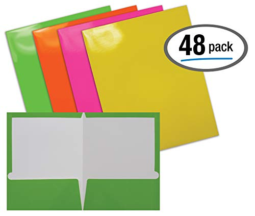 2 Pocket Glossy Laminated Neon Paper Folders, Letter Size, Neon Paper Portfolios by Better Office Products, Box of 48-4 NEON Colors