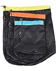 Compression Stuff Sack Bag Mesh Drawstring Storage lichtgewicht tas voor Outdoor camping wandelen 3PCS