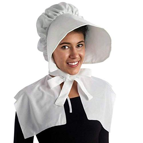 (Pilgrim Bonnet Hat for Women - Made of Polyester - One Size Fits Most Adults - Party Costume for Halloween, Thanksgiving Day, Pilgrim & Colonial Plays Dress Up, White -)