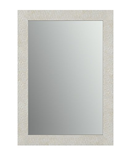 Delta Wall Mount 33 in. x 47 in. Large (L1) Rectangular Framed Float Mounting Bathroom Mirror in Stone Mosaic with Standard Glass